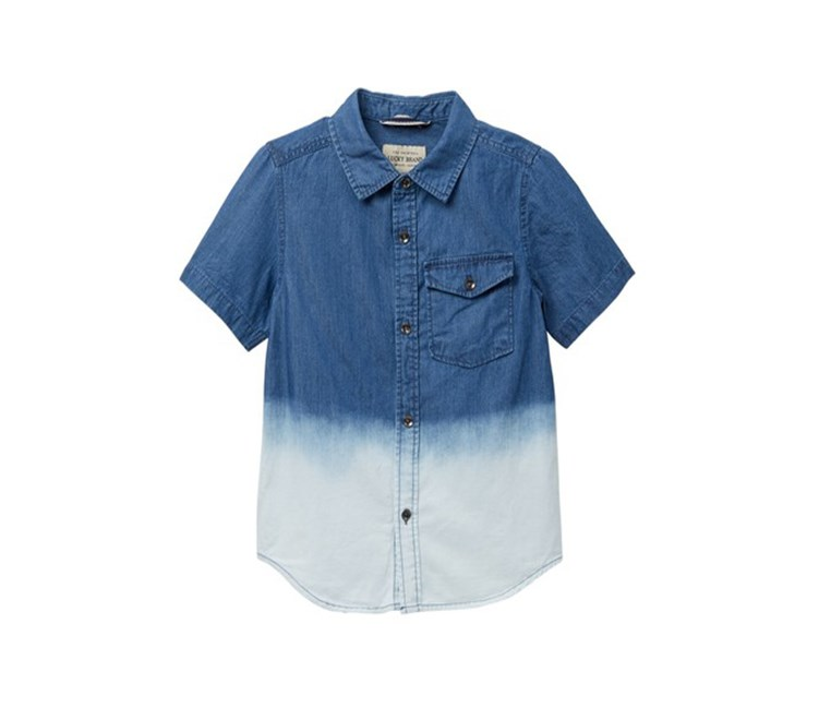 Little Boys Short Sleeve Denim Shirt, Mid Blue Wash