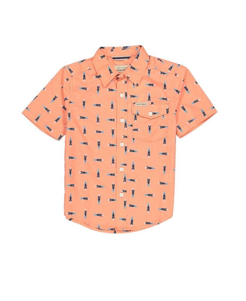 Kids Boys Short Sleeve Casual Shirt, Tawny Orange