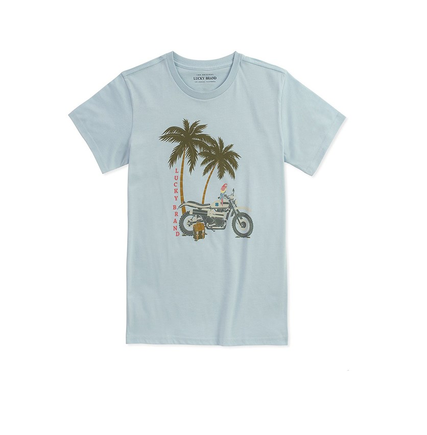 Kids Boys Graphic Print Tee, Skyway Heather Blue