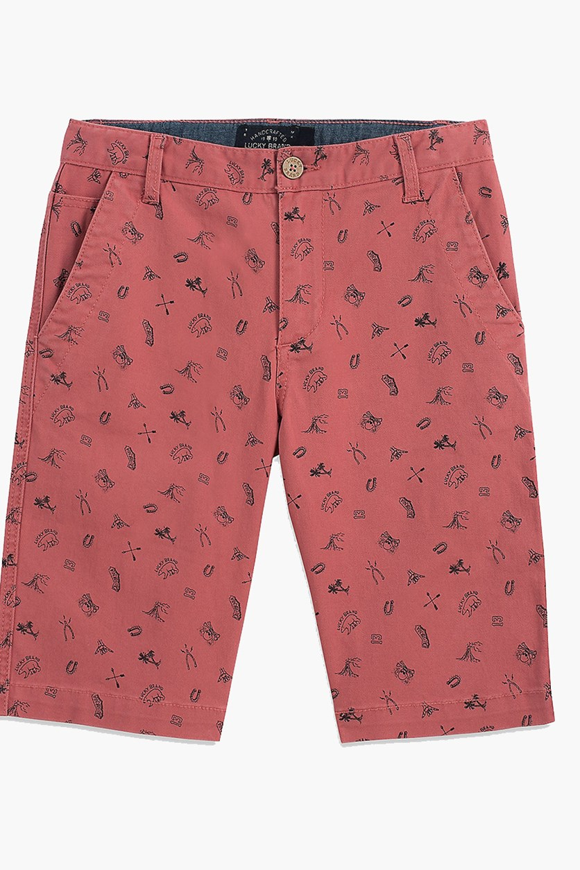 Kids Boys Printed Denim Short, Slate Rose