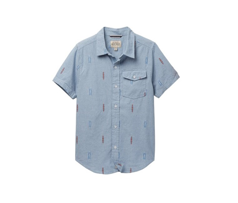 Big Boys Short Sleeve Chambray Shirt, Light Blue