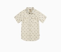 Lucky Brand Big Boys' Short Sleeve Button Down Shirt, Marshmellow Heather