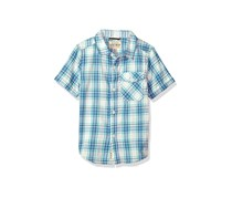 Kids Boys Short Sleeve Casual Shirt, Blue/Ivory Combo