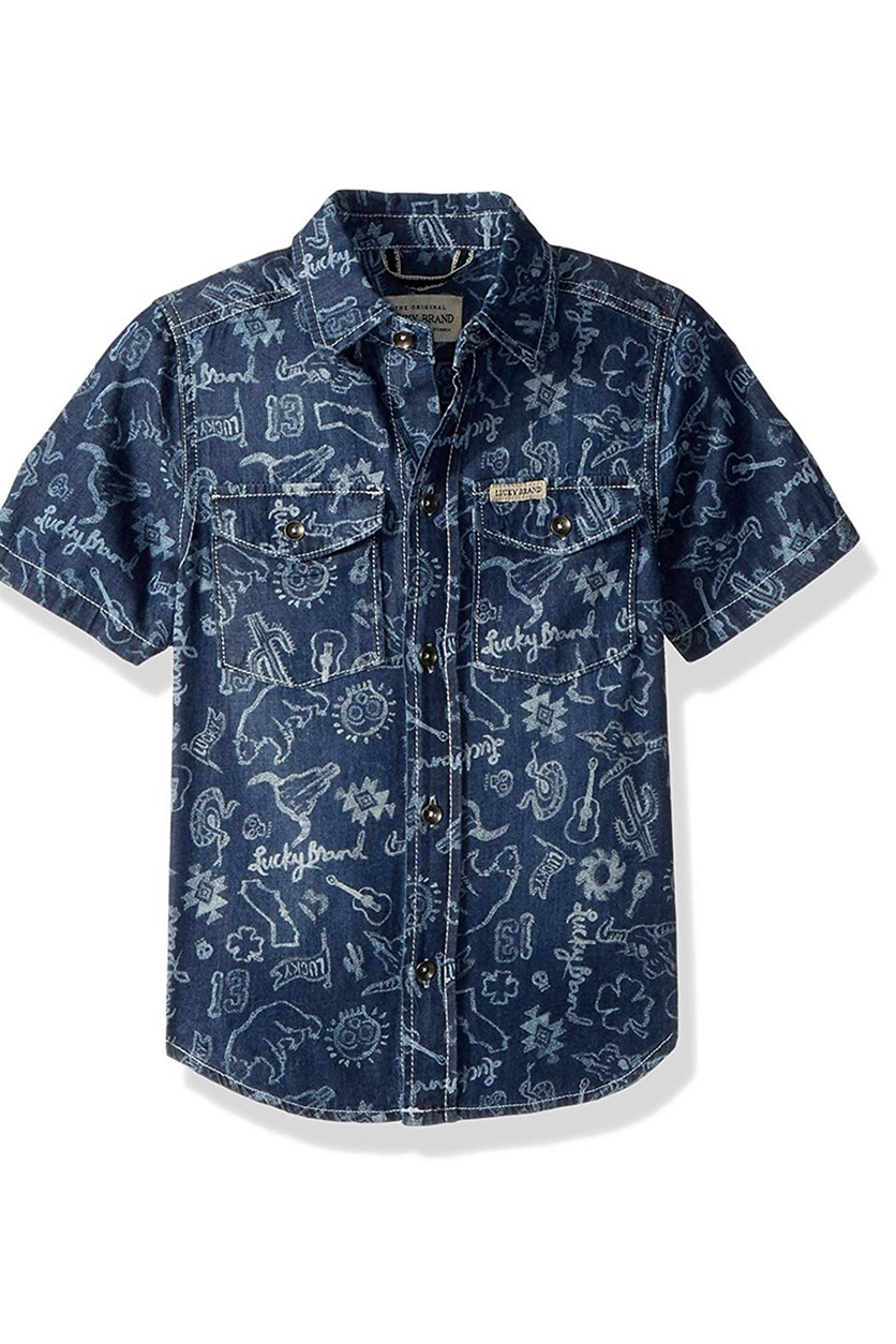 Boys' Short Sleeve Printed Button Down Shirt, Mid Blue Wash