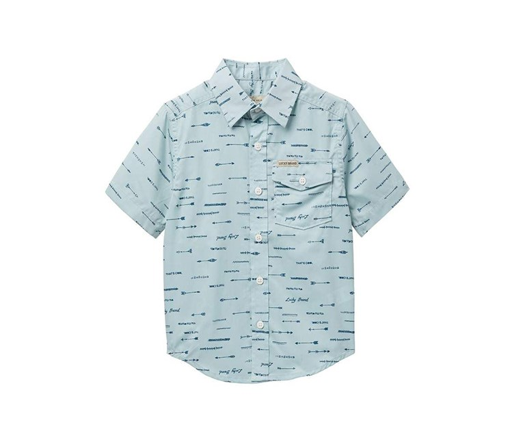 Boys Printed Slub Shirt, Pale Blue