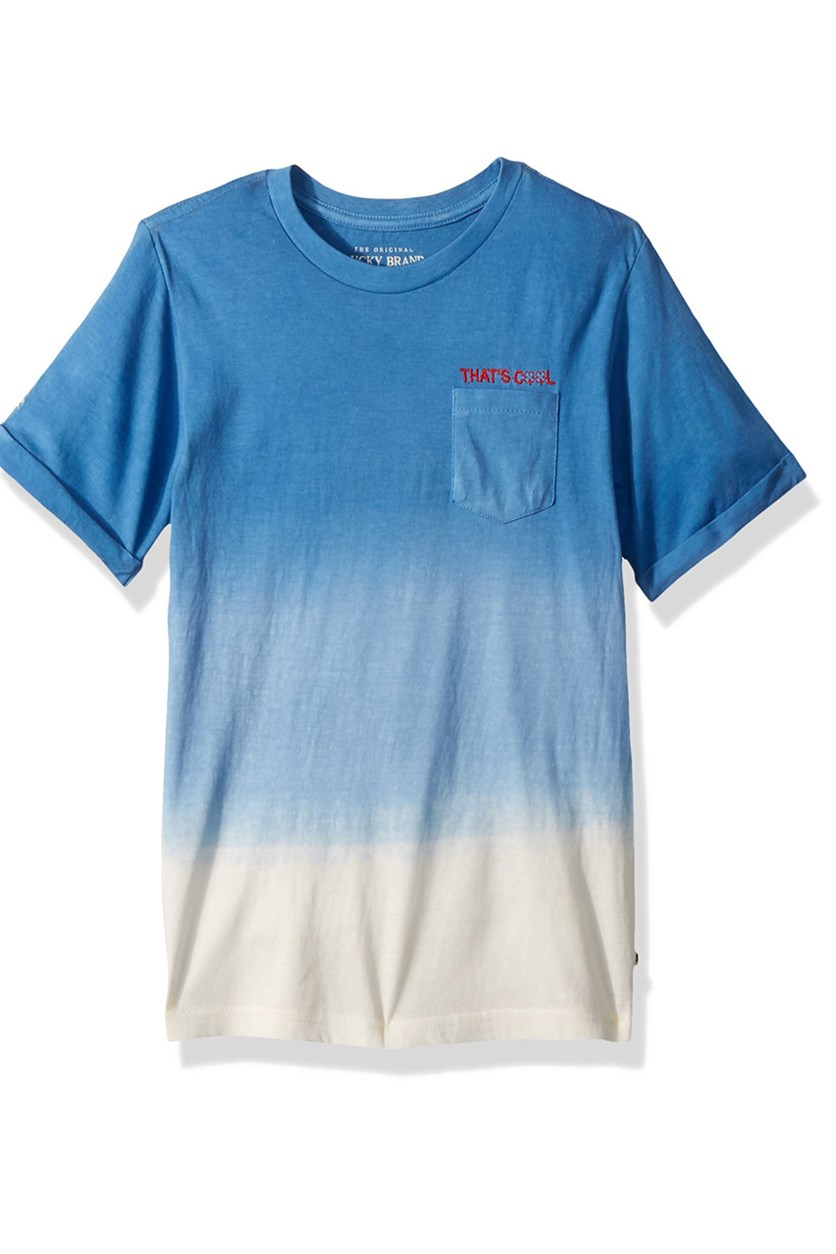 Boys Short Sleeve Shirt, Strong Blue Dip Dye