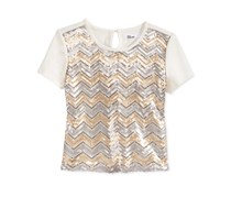 Epic Threads Girl's Sequin Top, Ivory/Gold
