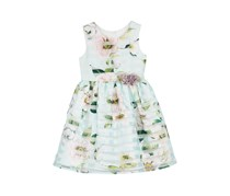 Marmellata Little Girls Shadow Stripe Dress, Green Combo