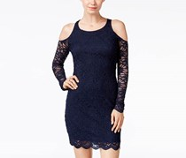 Jump Apparel Juniors' Lace Cold-Shoulder Bodycon Dress, Navy