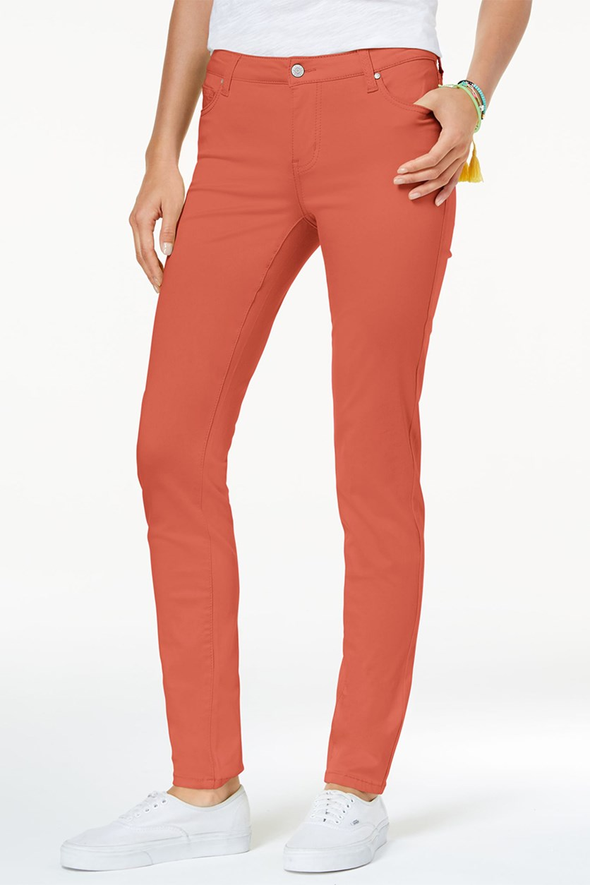 Juniors' Jayden Colored Skinny Jeans, Spiced Coral