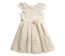 Sweet Heart Rose Girl's Ivory & Shiny Dress, Gold