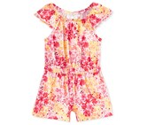 First Impressions Floral-Print Romper, Pink/Yellow/Orange