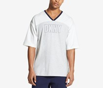 Dkny Men's Colorblocked Logo-Print V-Neck Hockey Jersey, Glacier Grey