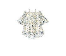 Beautees Big Girls Floral-Print Smocked Top, Natural