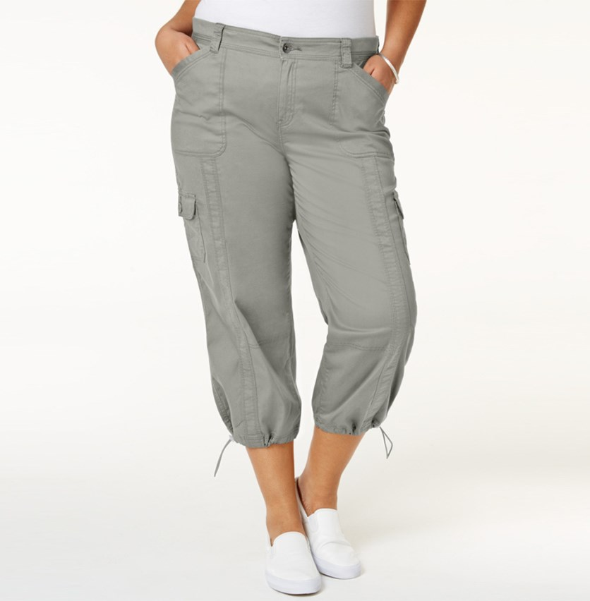 Plus Size Capri Cargo Pants, Misty Harbor