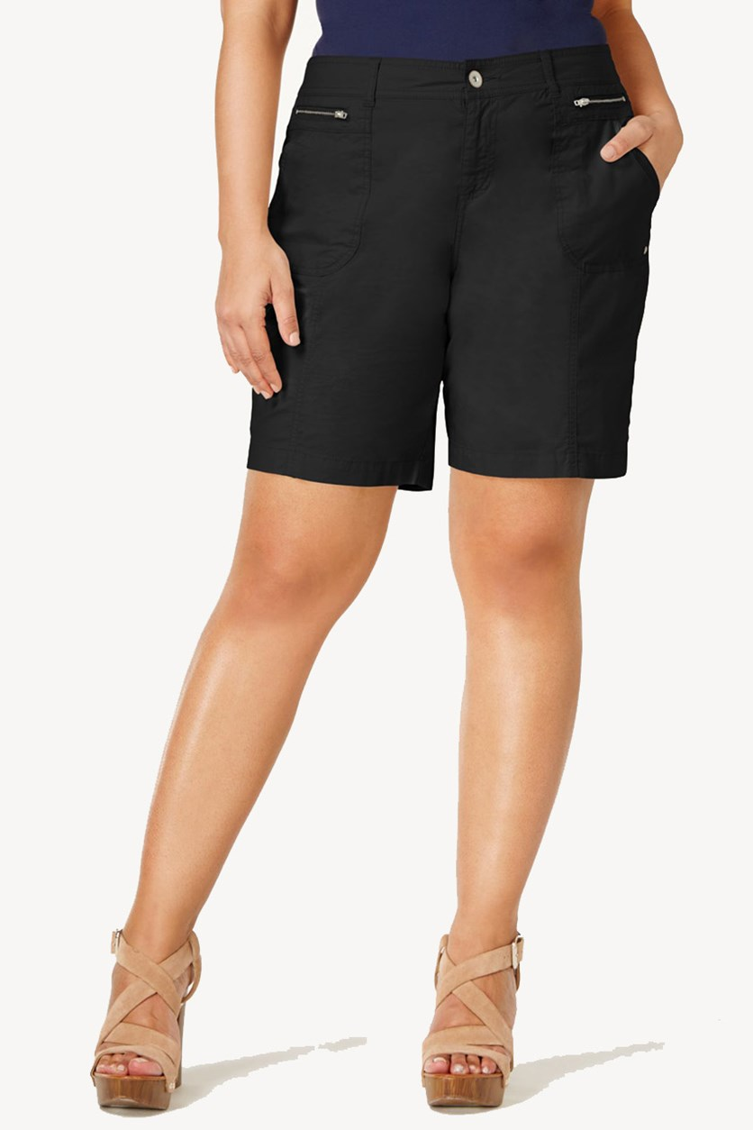 . Women's Plus Relaxed Mid Rise Shorts, Deep Black