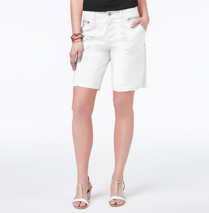 Petite Zip-Detail Shorts, Bright White