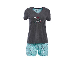 Rene Rofe Women's Short Sleeve V-Neck Pajama Set, Dark Grey/Aqua