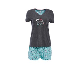 Rene Rofe Women's Short Sleeve Sleepset, Grey/Blue