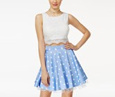 City Studios Juniors' 2-Pc. Embellished Lace A-Line Dress, Periwinkle/White
