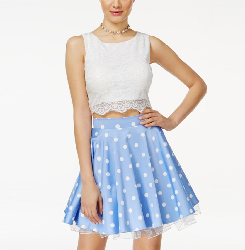Juniors' 2-Pc. Embellished Lace A-Line Dress, Periwinkle/White
