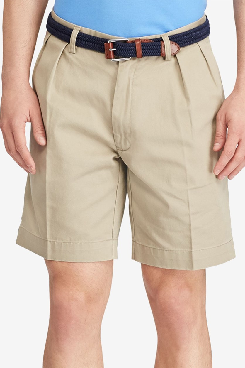 Men Classic-Fit Pleated Chino Short, Classic Stone