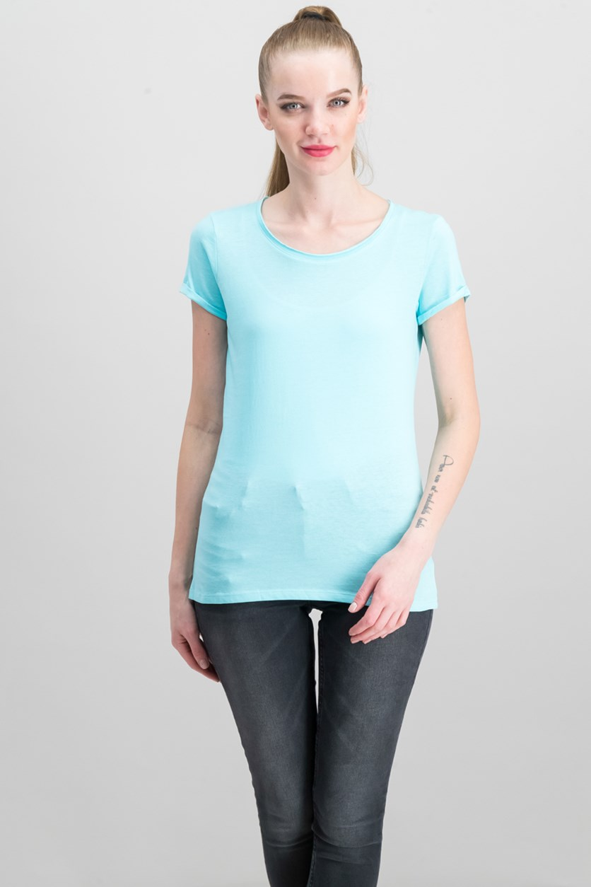 Women's Short Sleeve Top,Turquoise