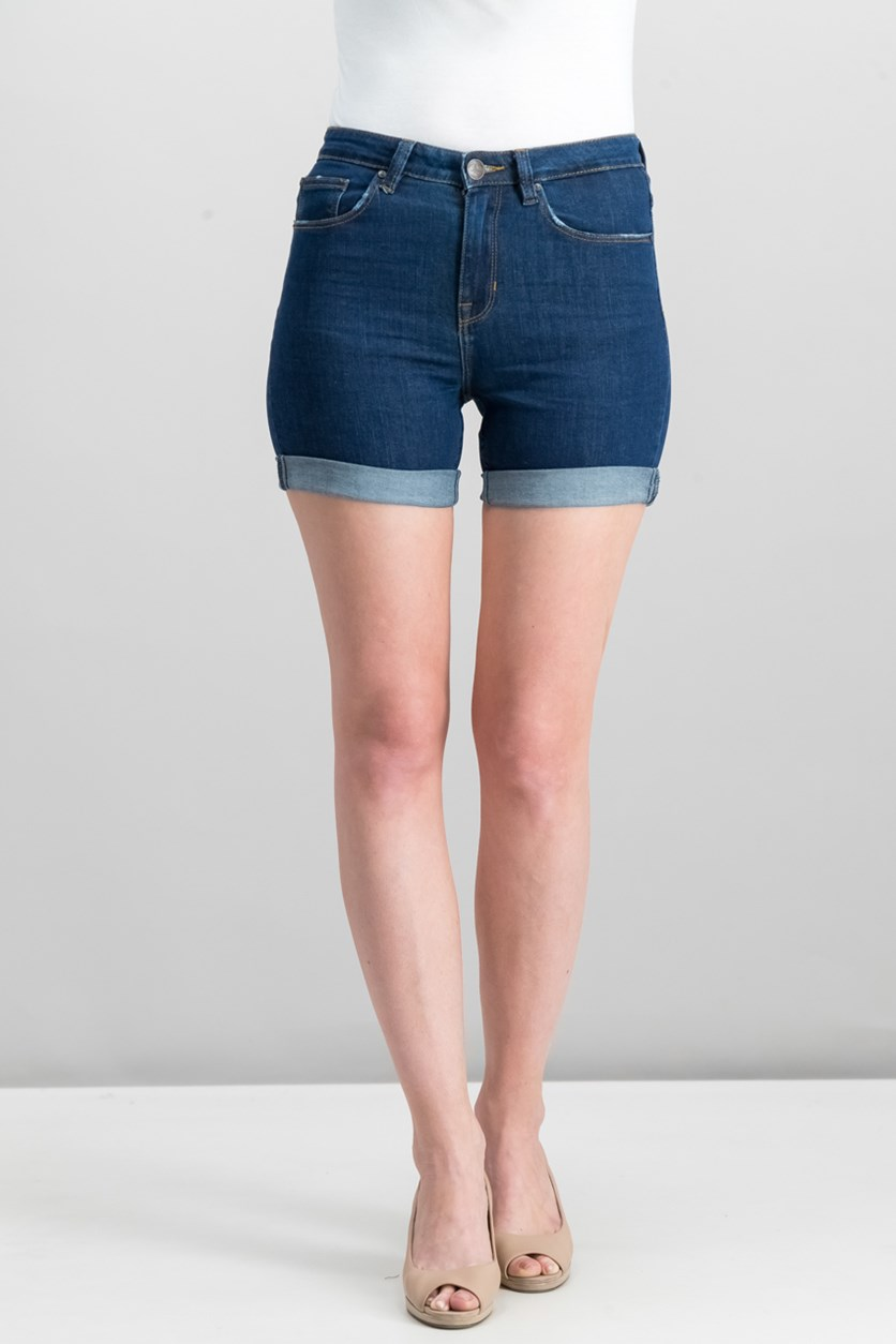 Women's High Waist Shorts, Blue