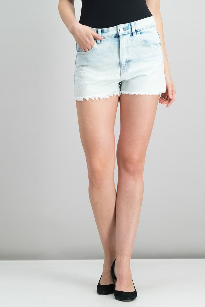 Women's Frayed Hem Short, Wash White