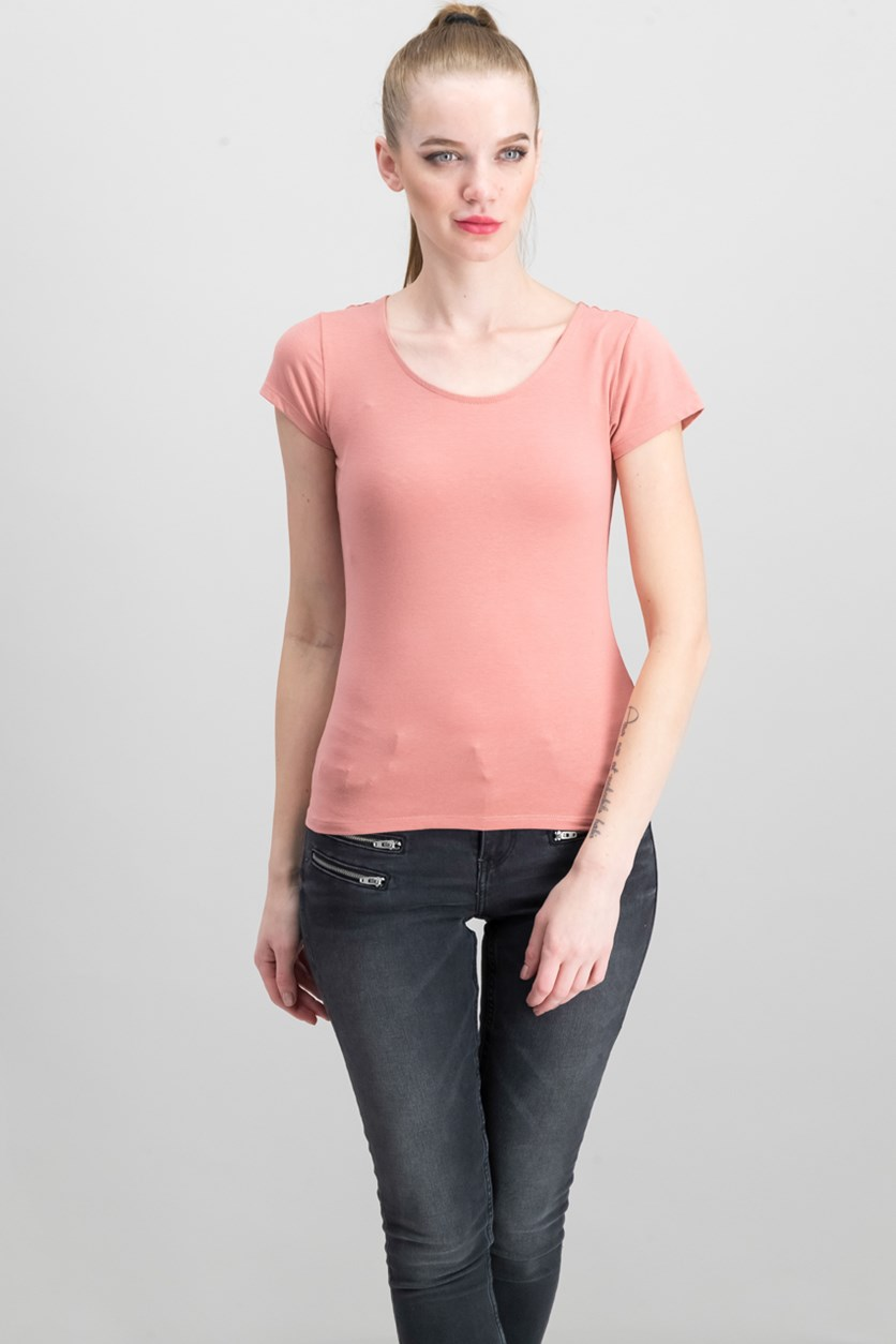 Women's Short Sleeve Cut-Out Back Top, Blush