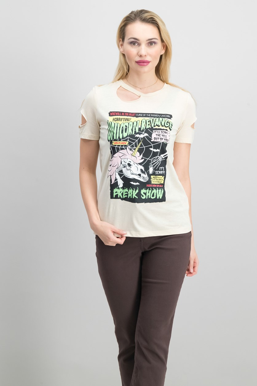 Women's Graphic Print Tee, Beige