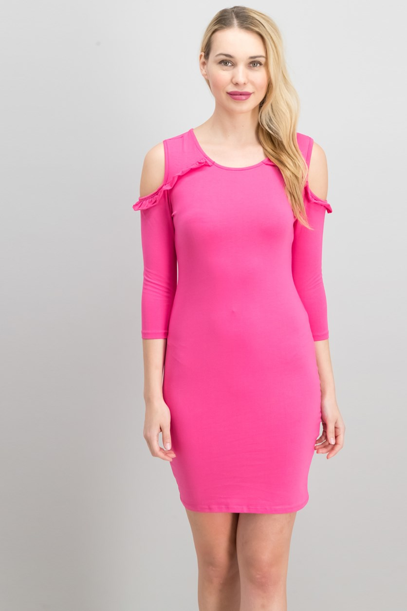 Women's Cold Shoulder Round Neck Dress, Pink