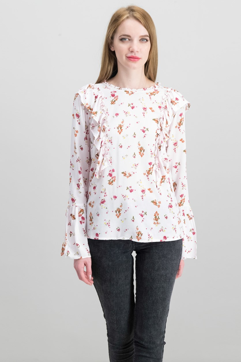 Women's Long Sleeve Floral Print Top, Pink Combo