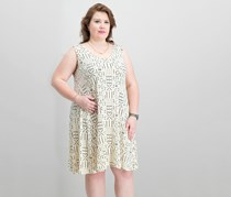 Women Plus Size Printed Cross-Back Dress, Mud Cloth Biege/Black