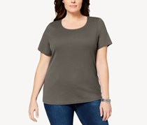 Karen Scott Plus Size Cotton Scoop-Neck T-Shirt, Brown Clay