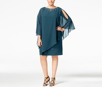 Slny Fashions Women's Plus Size Embellished Capelet Dress, Teal Blue