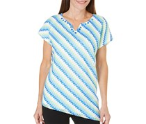 Alfred Dunner Lace Striped Top, Blue