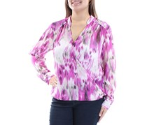 INC Womens Faux Wrap Casual Top, Purple Combo