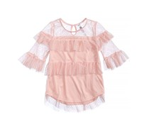 Beautees Girls Quarter Sleeve Ruffle Top With Mesh Neckline, Blush