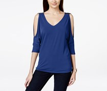 Inc International Concepts V-Neck Cold-Shoulder Top, Goddess Blue