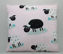 Sheep Floral Throw Pillow, Pink