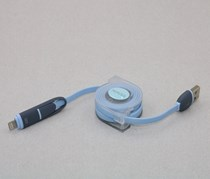 2 In 1 Extensible Usb Cable 2.1A, Blue