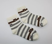 Women's 2 Pack Socks, White/Brown/Grey