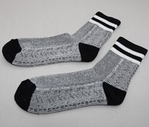 Men's Single Pack Half Looped Pile Vintage Ankle Socks, Black