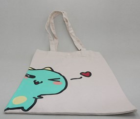 Cartoon Canvas Shoulder Bag-Beige
