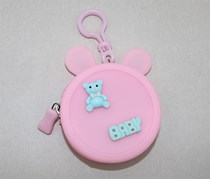 Little Bear Round Silicone Coin Purse,Pink