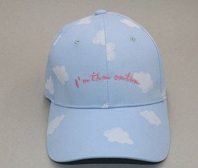 Clouds Printing Baseball Cap, Light Blue