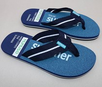 Men's Braid Stripe Flip Flops, Dark Blue