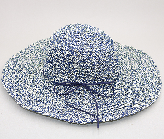 All Match Foldable Wide Brim Hat, Navy/White