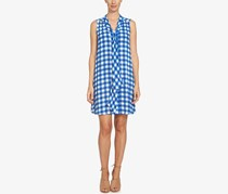 CeCe Tie-Neck Gingham-Print Dress, Blue